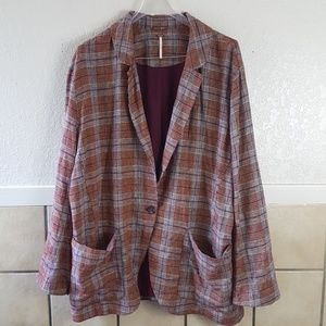 Free People Oversized plaid lined linen Blazer EUC